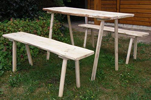 Mittelalterliche Steck- Sitzgarnitur aus Eiche, 1 Tisch und 2 Bänke, Flächen aus Eichenholz 25-30 mm mit w8-kantigen Beinen, je 115 cm lang für Tavernenbestuhlung