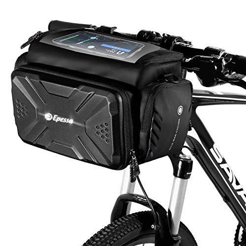 Epessa Bike Handlebar Bag,Bike Basket with Durable Quick Install & Release Double Clamp Bracket On The Handlebar,4L Capacity,Hard Housing,with Removable Shoulder Strap and Sensitive Touch Screen