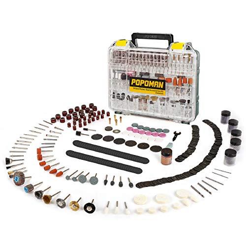 """Accesorios de Herramientas Rotativas POPOMAN 313PCS, diámetro de mangos 1/8""""(3.2mm) Grinder Universal Kit de Accesorios, para amoladora eléctrica de corte, amolado, lijado, afilado, tallado"""