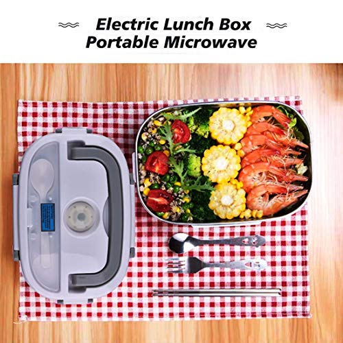 Electric Lunch Box, 12V 24V 110V Heated Lunch Box Portable Microwave For Car Office School, 304 Stainless Steel portable Food Warmer Thermal Lunch Box Mini Car Mic   rowave