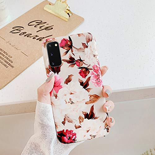 Kompatibel mit Samsung Galaxy A51 Hülle,Handyhülle Galaxy A51 Case Blumen Blätter Ultradünn TPU Silikon Hülle Schutzhülle Crystal Clear Silikon Bumper Rückschale Case Cover,Pfingstrose