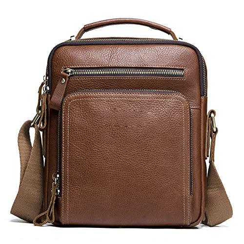 AINY Leather Shoulder Handbag Messenger Bag for Men Crossbody Satchel Side Bag for Work Commuter Business Travel School,Brown
