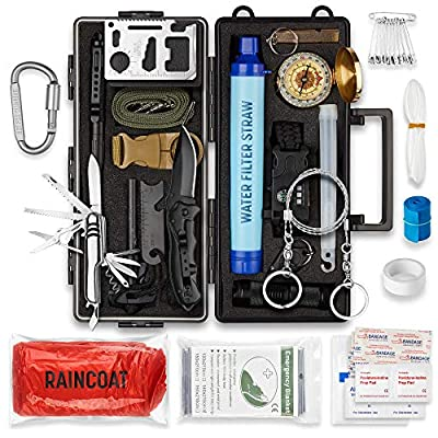 PATHWAY NORTH 20 in 1 Survival Kit, Tactical Gear for Men and Women, Bugout Bag Survival Kit, Emergency Kit for Disaster, Camping, Boat, Hunting, Hiking, Car, and Adventures
