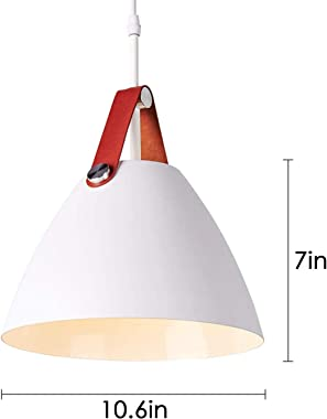 AIDOS White Hanging Light Fixture, Mini Pendant Light for Bedroom and Kitchen, Ceiling Lamp with Adjustable Cord