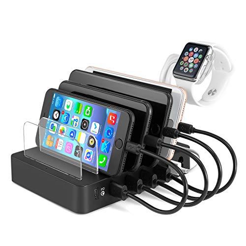 USB Base de Carga, nbws 6Puerto Multi Funda Carga Teléfono Estación Universal Cargador con 1Quick Charging 3.0y 5Smart USB Puerto, 5V9A para iOS Android