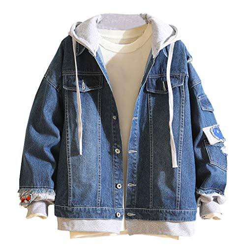 Zolimx Jeansjacke mit Fell Herren Casual Herbst Winter Vintage Gefälschte Zweiteilige Jungen Denim-Loch-Knopfoberseite Jacke Mit Kapuze Mantel Top Bluse