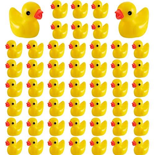 Skylety 100 Pieces Mini Resin Slime Charms Duck Miniature Duck Figures Micro Fairy Garden Landscape Aquarium Dollhouse Ornament for Christmas Accessories (Yellow)
