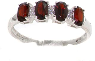 925 Sterling Silver Real Genuine Garnet and Diamond Womens Eternity Band Ring