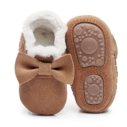 Isbasic Infant Baby Buttons Snow Boots Anti-Skid Rubber Sole for Toddler Boys Girls Winter Warm Crib Shoes (0-6 Months, A/Brown)
