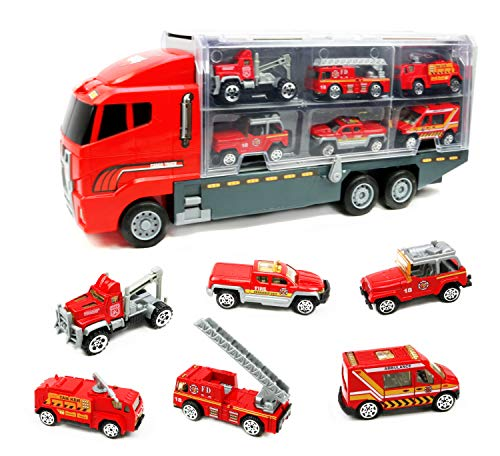 Smart Novelty Die Cast Emergency Trucks Vehicles Toy Cars Play Set in Carrier Truck - 7 in 1 Transport Truck Emergency Car Set for Kids Gifts (Fire Vehicle Set)