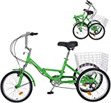 Barbella Adult Folding Tricycles, 7 Speed 20 Inch 3 Wheel Adult Trikes with Large Basket, Foldable Tricycle with Low Step-Through for Adult Men and Women Teens (Apple Green)