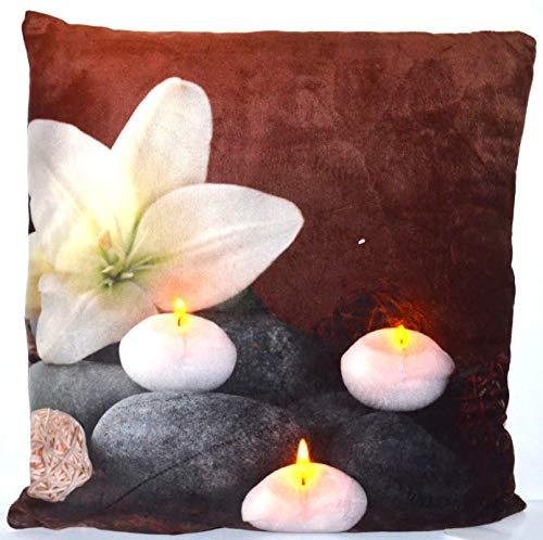 Jürgen Schleiß Konfektion LED Kissen m.Füllung Beleuchtung Allzeit Kerze Blume/Couchkissen Dekokissen Sofakissen/100% PES
