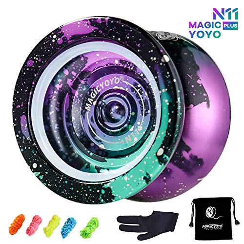 MAGICYOYO Yoyo Professional N11 Unresponsive Pro Yoyos Metal Alloy Aluminum Yoyo 4 Colors Yoyo Toy, Galaxy Yoyo Rainbow, Bonus - 5 Replacement Strings, Glove and Yo-yo Bag