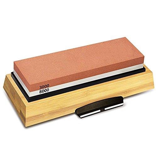 SODIAL Schleif Stein 3000 & 8000 K?rnung - Doppel Seitiges Schleifstein Set Für Messer Mit Rutschfester Bambus Basis Und Frei Winkel Führung
