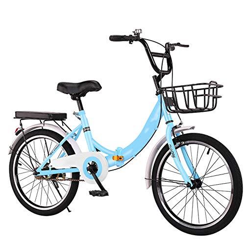 LinGo Bicicleta Plegable 20 Pulgadas Velocidad Variable Bike Portátil Plegado Rápido Ocio Bicicleta Plegable Multifuncional Bicicleta Urbana Para Estudiant Adultos De La Ciudad,Azul