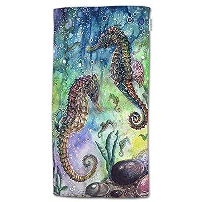 "HGOD DESIGNS Seahorse Hand Towels Animal Deep Sea Ocean Horse Soft Hand Towel for Bathroom Kitchen Yoga Gym Decorative Towels 15""X30"""
