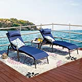 LOKATSE HOME 3 Pieces Outdoor Patio Chaise Lounges Chairs Set Adjustable with Folding Table, Dark Blue Cushions