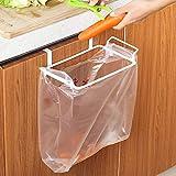 IRONHILL Metal Trash Bag Holder for Kitchen Cupboard,Kitchen Plastic Bag Trash Bin Garbage Bags Storage Rack,RV Garbage Bag Hanger, Space Saving Garbage Hook, Kitchen Organize (White)