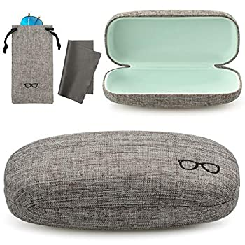 Vemiss Hard Shell Eyeglasses Case Soft Linen Fabrics Portable Glasses Sunglasses Box  Large Gray