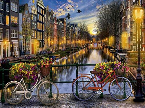 Pintar por números para Adultos Paisajes Amsterdam – Pintura para Pintar por números con Pinceles y Colores Brillantes - Cuadro de Lienzo con numeros pre Dibujado fácil de Pintar – Paisaje