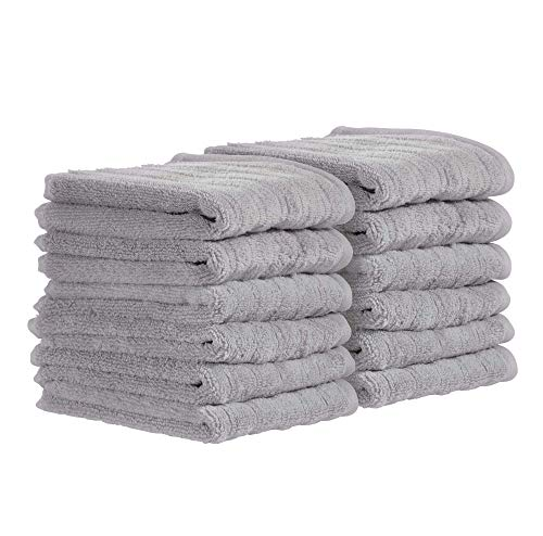 Price comparison product image iDesign Set of 12 Hand Towels,  Small Ribbed Cotton Towel Set,  Soft Towels Set for Bathroom,  Shower Room or Kitchen,  Grey