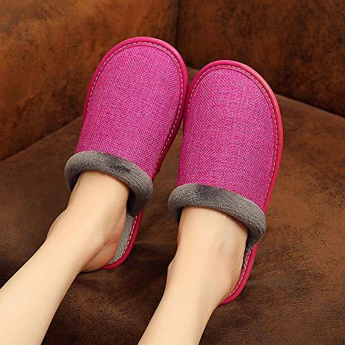 Cxypeng Hombre Zapatillas de casa Espuma de Memoria,Zapatillas de Plataforma de Calidez Antideslizantes para el Piso, Zapatos de algodón para el hogar de invierno-39-40_Rose Red,Zapatillas Casa Mujer