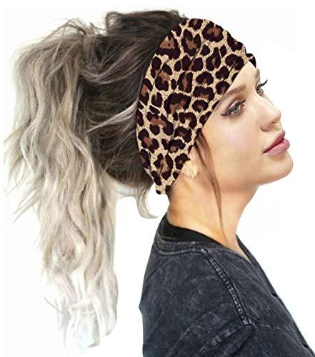 Carolilly Face Shield Bandana Multifunktionstuch Stirnband Sport Motorrad Mundschutz Halstuch Kopftuch Schlauchschal für Damen(24 * 10cm) (Leopard, One Size)