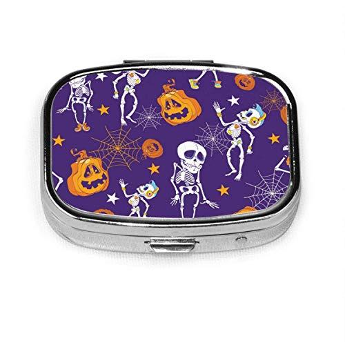 Caja de medicina cuadrada de metal cuadrado de esqueletos y calabazas para Halloween, diseño de 2 ranuras, caja de medicina, caja de medicina, caja de vitamina para viajar al aire libre