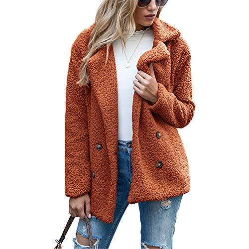 ZFQQ Autumn and Winter Women's Coat Button Lapel Loose Lamb Sweater Cardigan Sweater