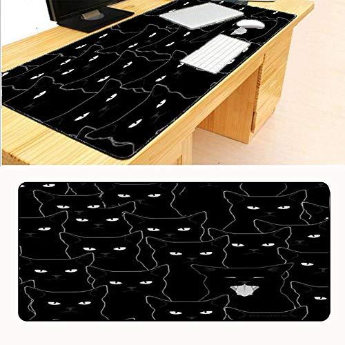 HonGHUAHUI kop-computerspel van de zwarte kat grote muisonderlegger rand, waar muismat sluit 400X800x2MM A05