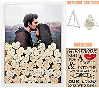 """Wedding Guest Book Alternative with Hearts 