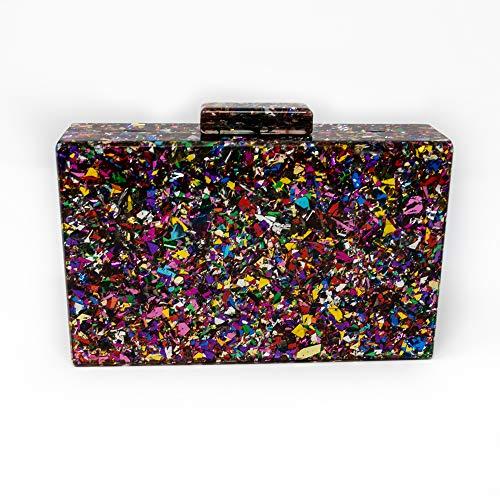 Euforia Modas Bolso acrílico con confeti para fiesta elegante tipo clutch