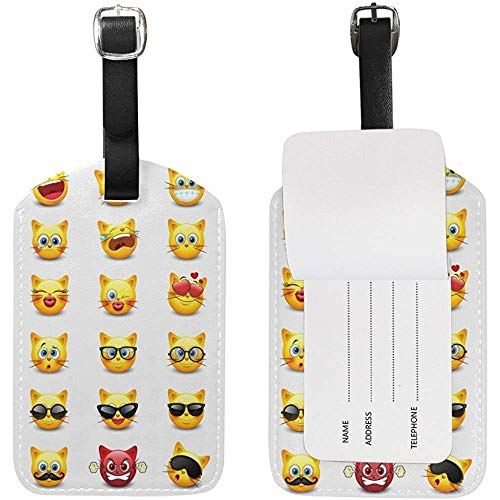 Cute Cat Emoji Luggage Tag Travel ID Label Leather for Baggage Suitcase 2 Piece