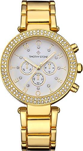Timothy Stone Damen-Armbanduhr Desire Stainless Analog Quarz Farbe Gold, 35mm mit Swarovski-Kristallen
