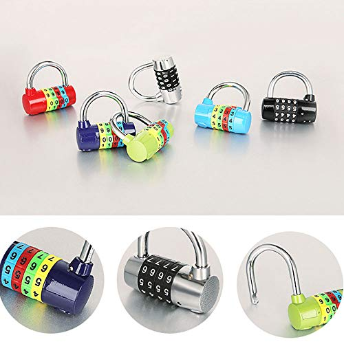 4-Digit Combination Padlock 37mm Width with Colourful dials Portable Resettable Code Lock Alloy Safety Lock for Suitcase, Lockers