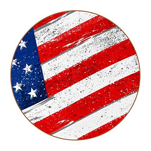 6 rutschfeste Untersetzer für Getränke, hitzewiderstandsfähig, dekorativ für Zuhause, r&e Untersetzer für Schüsseln, Tassen, Gläser, amerikanische Flagge mit rauer Grunge-Textur.