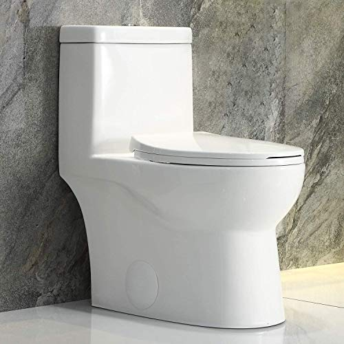 HOROW HWMT-8737 Dual Flush Elongated Standard One Piece Toilet with Comfort Seat Height, Soft Close Seat Cover, High-Efficiency Supply, and White Finish Toilet Bowl