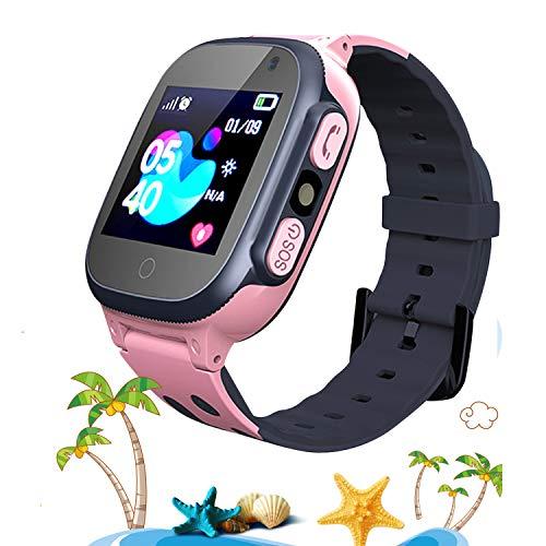 Smartwatch para Niños, Reloj Inteligente para Niños con Linterna, SOS, LBS, Comunicación Bidireccional Cámara Chat de Voz, Reloj Infantil Regalo para Niño Niña de 3-12 Años (Pink)