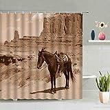 None brand Europa Stil Galoppieren Pferd Duschvorhang Retro Lauf Pferd Cartoon Grasland Tier Wand HäNgende VorhäNge Badewanne Dekor-W150xh180cm