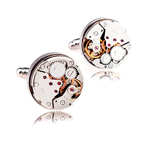 (Silver 2 Not movable) - Honey Bear Mens Vintage Watch Movement Cufflinks with Gift box-Working, Round