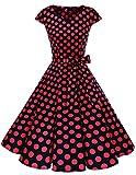 DRESSTELLS Version 6.0 Vintage 1950's Robe de soirée Cocktail rétro Style années 50 Manches Courtes - Noir/Rouge - L