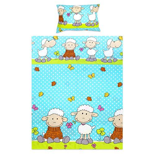 BlueberryShop Peuter Kinderbedset | Dekbedovertrek 120 x 150 cm | Kussensloop 42 x 62 cm | Bestemd voor kinderen 0-3 jaar | Blauwe schapen