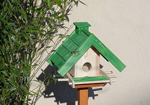 Vogelhaus mit Ständer BTV-X-VOWA3-MS-gras001 Schönes PREMIUM Vogelhaus mit Ständer KLASSIK-PREMIUM Vogelhaus 1,5 L Silo+ SICHTSCHEIBE RUND / GLAS, FUTTERVORRAT-SILO – VOGELFUTTERHAUS , wetterfestes Vogelfutterhaus MIT FUTTERSCHACHT-Futtersilo Futterstation Farbe grasgrün grün PURE GREEN kräftig tannengrün/natur, MIT TIEFEM WETTERSCHUTZ-DACH für trockenes Futter, mit Futterschacht zum Nachfüllen oben, 100% Massivholz, QUALITÄTSPRODUKT vom Schreiner - 3