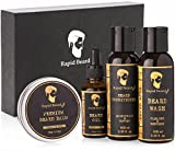 Beard Grooming kit for Men Care - Unscented Beard Oil, Beard Shampoo Wash, Beard Conditioner Softener, Beard Balm Leave in Wax Butter - Styling Shaping & Growth Mustache Gift Set