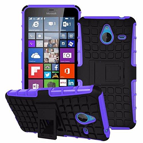 Heartly Flip Kick Stand Spider Hard Dual Rugged Armor Hybrid Bumper Back Case Cover for Microsoft Lumia 640 XL Dual SIM - Frame Purple