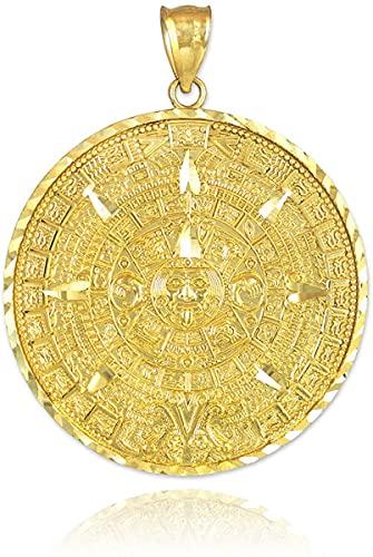 10k Yellow Gold Aztec Mayan Calendar Pendant Charm, 1' Diameter
