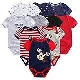TOOKEN 10 unids recién Nacido bebé Ropa Ropa de algodón Manga Corta Mono 0-12m Unisex bebé niño Ropa Dibujos Animados impresión Solide
