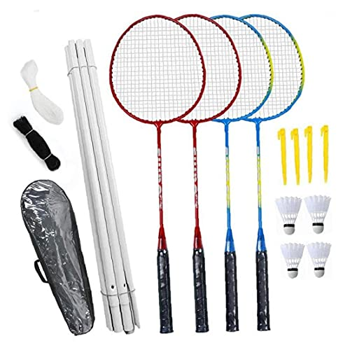Badminton Combo Set, Badmintonschläger Set, 4 Person Badminton Set Mit Net Für Garten Easy Setup Badminton-Set Für Erwachsene Kinder Kinder Familie