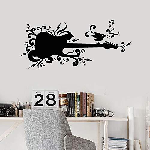 AKmene Guitare Sticker Mural Musique oiseau Chant Notes Ado Chambre Musique décoration intérieure vinyle autocollant48x106cm