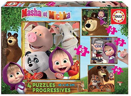 Educa - Masha y el Oso Conjunto de Puzzles Progresivos, Multicolor (18642)